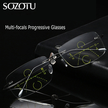 SOZOTU Rimless Multi-focal Progressive Reading Glasses Men Women Presbyopic Eyeglasses Male Eyewear For See Distance&Near YQ625
