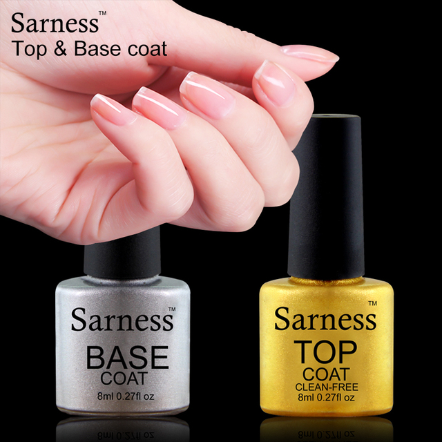 Sarness 8ml Hybrid Glaze Nail Top Coat and Base Coat Transparent Gel Varnishes Soak Off LED Tops UV Gel Nail Polish for Nail Art