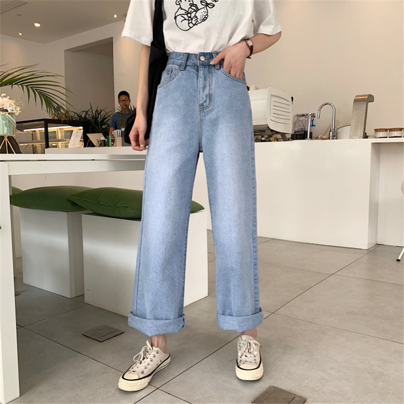 HziriP New Arrival Female Women 2019 High Waist Solid Loose Jeans All Match Light Washed Denim Wide Leg Full Trousers 2 Types