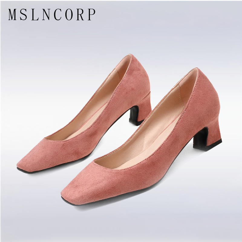 plus size 34-43 Spring Autumn Women Pumps Fashion Party Square Toe with High heels Lady Casual Shoes Wedding Dress Zapatos Mujer vallkin size 34 43 white buckle strap round toe women pump square high heels solid autumn spring lady party shoes