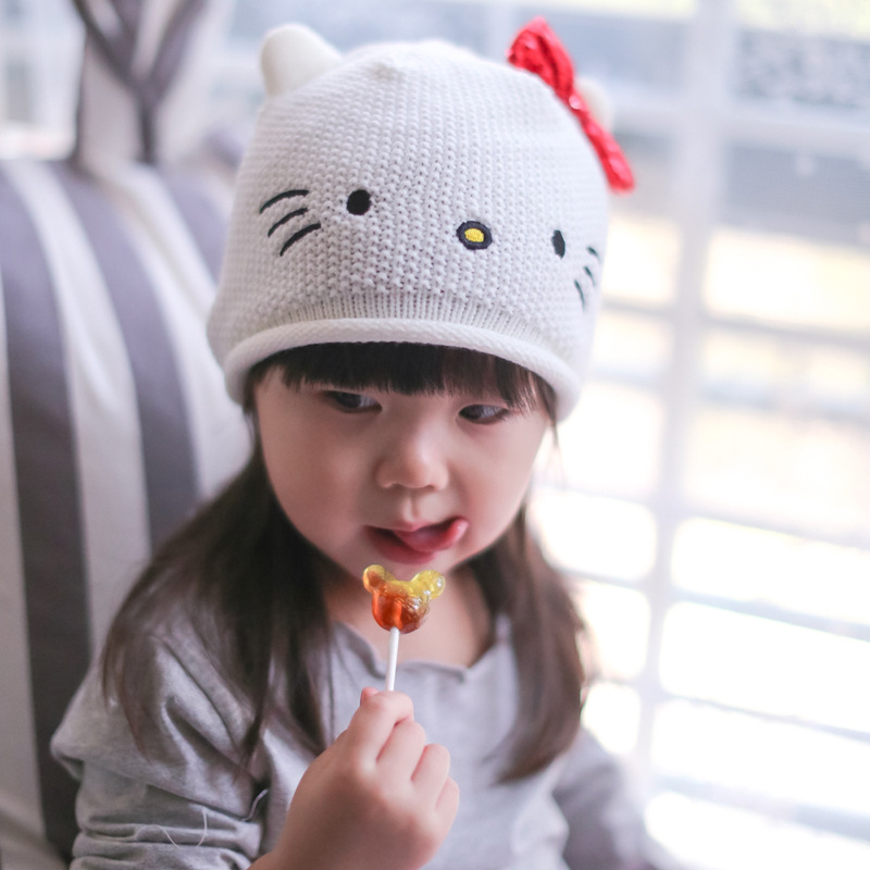 New Arrival Cute Cartoon Hello Kitty Baby Hat Kawaii Baby Woolen Hat