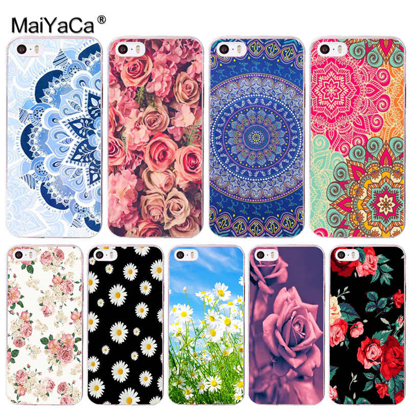 MaiYaCa Mandala Rose Daisy flower สำหรับ iPhone 8 7 6 6S Plus X xs max xr 10 5S SE 11 11pro max 4 4S Coque Shell