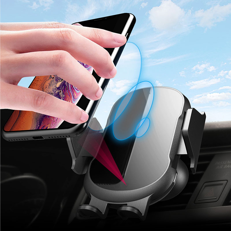 10W Qi Car Wireless Charger for IPhone Xs Max XR X Samsung Intelligent Automatic Clamping Fast Wirless Charging Car Phone Holder in Phone Holders Stands from Cellphones Telecommunications