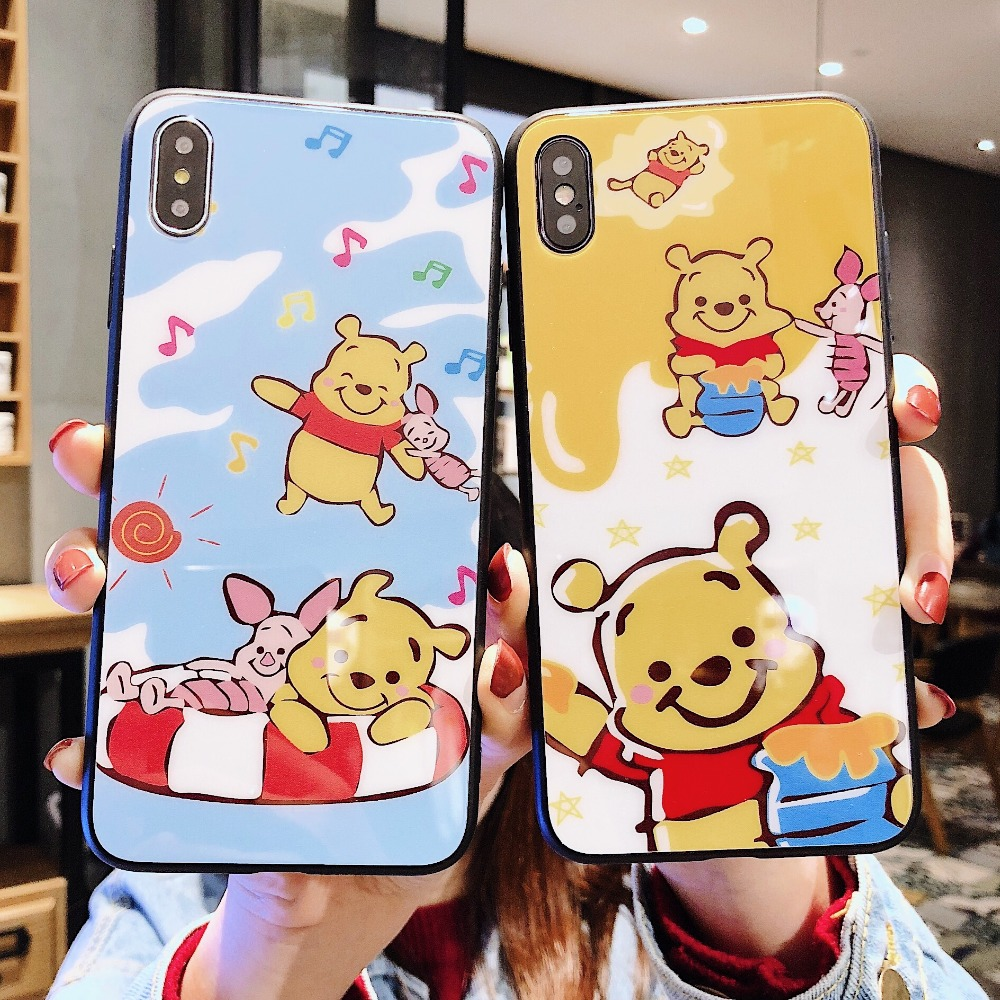 Cute Cartoon Winnie Poohs Ultrathin Tempered Glass Case For iPhone X XS XR MAX 6 6S 7 8 Plus High Toughness Unbreakable