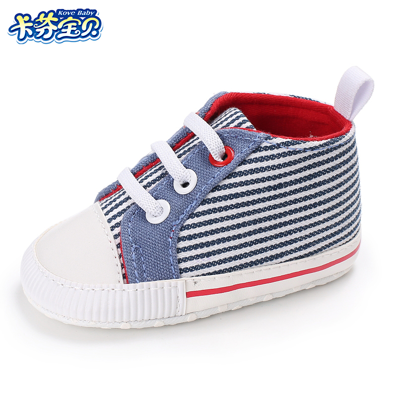 Newborn Baby Boys Girls Shoes First Walker Toddler Baby Soft Sole Crib Casual Stripe Shoes Unisex Sneaker 0-18 months