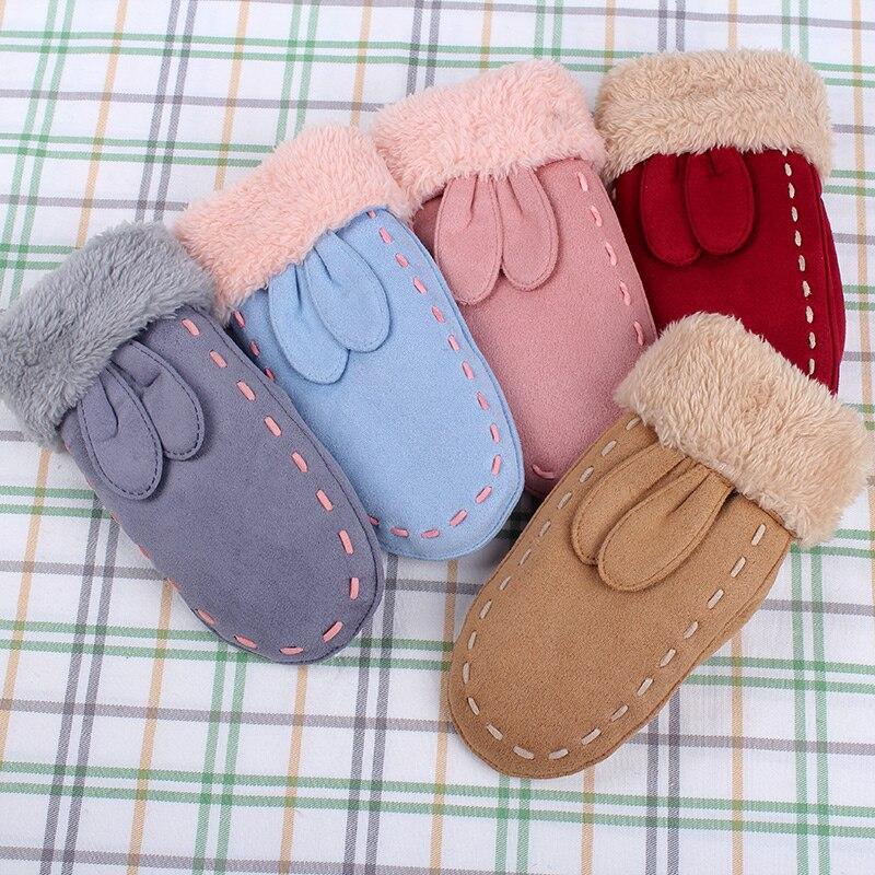 Fein Realby Luvas Winter Glovesfor Kinder Handschuhe Kinder Winter Handgelenk Glovescute Kaninchen Ohren Volle Fingergants Enfants Hiver 5 Farben