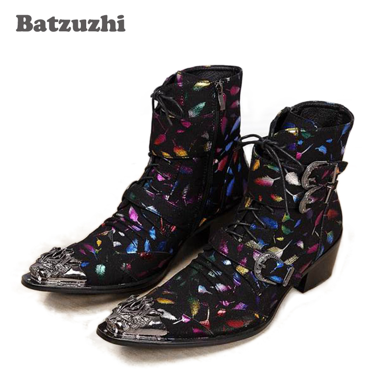 Batzuzhi 100% Brand New Limited Edition Men Ankle Boots Perfect Iron Toe Colorful Boots Men, Party/Stage Boots only for Phil