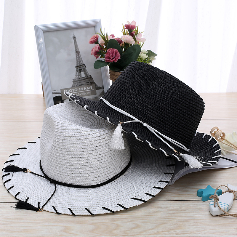 Summer Hat Women Sun Hats Beach Ladies Straw Wide Brim Sunscreen Girls Travel Shade Foldable Bow Nesis String Bow Cap