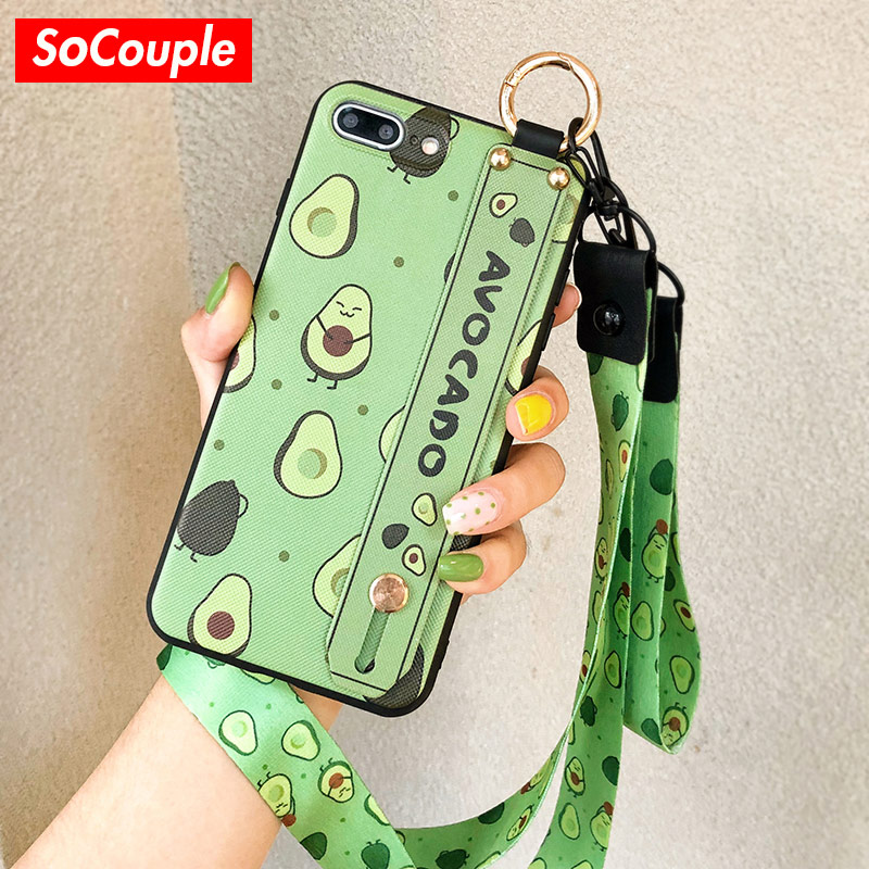 SoCouple Phone Holder Case For iphone XR X Xs max Fruit Avocado Soft TPU Neck Wrist Strap Lanyard Case For iphone 7 8 6 6s plus couples blanket