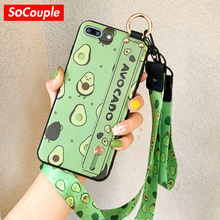 SoCouple Phone Holder Case For iphone XR X Xs max Fruit Avocado Soft TPU Neck Wrist Strap Lanyard Case For iphone 7 8 6 6s plus(China)