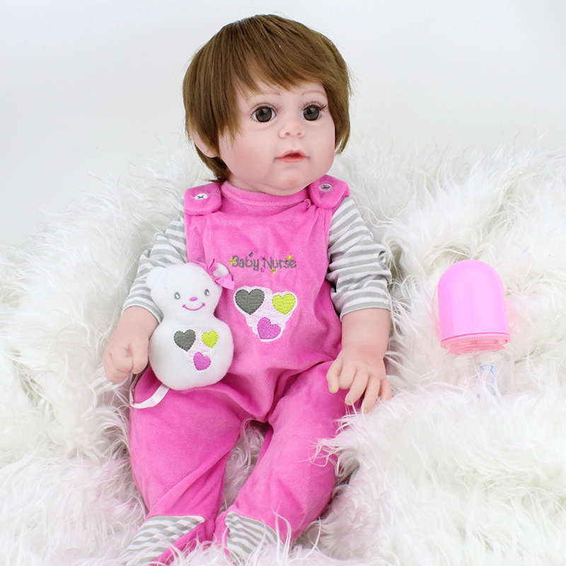 45CM Full body silicone reborn baby girl doll toys lifelike 55cm vinyl newborn babies doll child birthday gift girl brinquedos браслеты exclaim легкий браслет цепочка из серебра