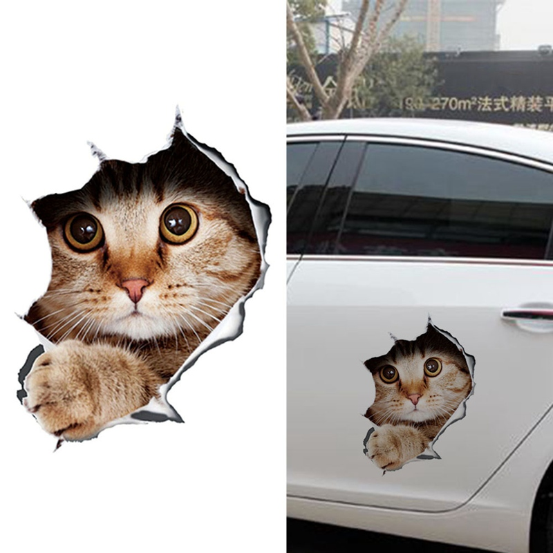 Fashion Car Accessories Creative 3D Funny Personality Kitten Cat  Simulation Auto Car Sticker Car Styling