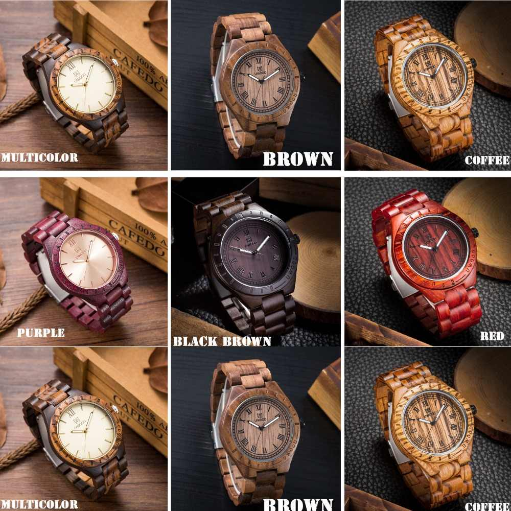 Reloj de madera, UWOOD Natural hecho a mano gran tamaño romano número negro reloj de sándalo relojes de pulsera de madera para hombre