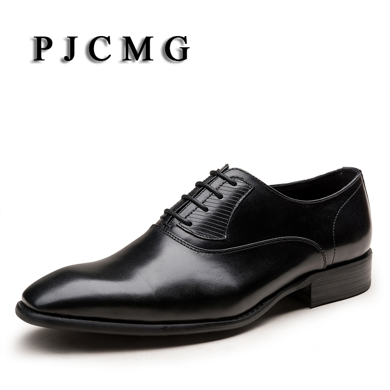 PJCMG Fashion High Quality Wine Red/Black Formal Oxfords Business Genuine Leather Lace-Up Dress Breathable Mens Wedding Shoes pjcmg fashion high quality wine red black formal oxfords business genuine leather lace up dress breathable mens wedding shoes