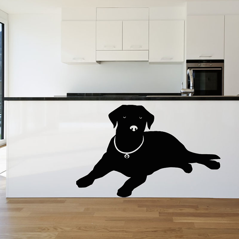 Dctop Europe Home Decor Lying Labrador Wall Sticker Black Animal Silhouette Sticker Living Room Puppy Dog