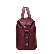 AOU Vintage High Capacity Shoulder Bags for Women 2018 Female Causal Totes High Quality Soft Leather Handbags Solid Color bolsa