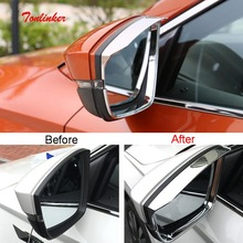 Tonlinker Cover sticker For Skoda KAROQ 2018 Car Styling 2PCS ABS Chrome Exterior Rearview mirror rain eyebrow
