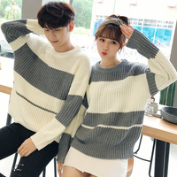 DoreenBow New Fashion Couple Knitted Sweatershirts Autumn Winter Women Men Striped Gray White Pullovers Outerwear 1