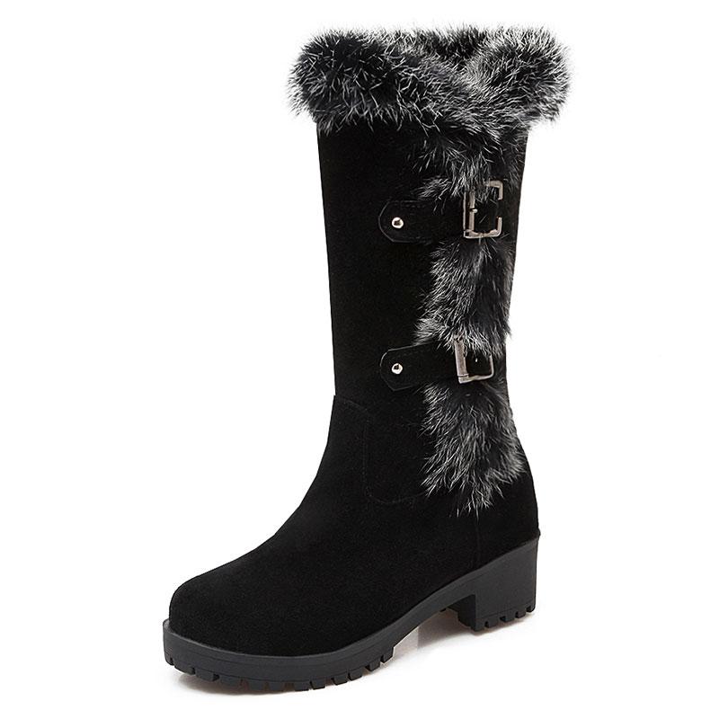 ФОТО Nubuck Leather autumn boots shoes mid calf boots women casual square med heel botas femininas ladies shoes botas boots ZT1124