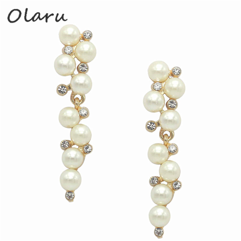 Fashion Brand New Design Elegant Crystal and Pearl Drop Long Earrings For Woman hoop Gift Wholesale Jewelry