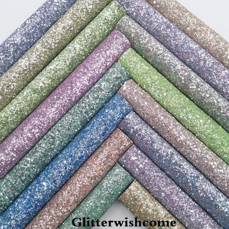 Glitterwishcome 21X29 см A4 размеры синтетическая кожа, коренастый блестящая кожаная ткань винил для Луки, GM055A