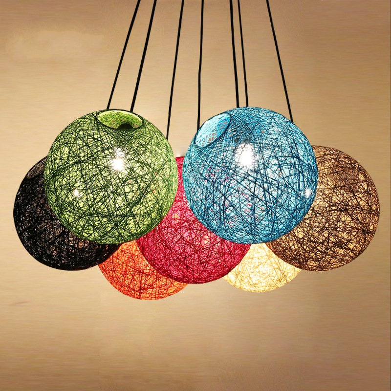 Creative Personality Edison bulb Colorful Pendant Lamps Restaurant Bar Cafe Lamps Rattan Field Pasta Ball E27 LED Pendant light