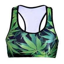 NEW 0051 Summer Sexy Girl Women green leaf weeds 3D Prints Padded Push Up Gym Vest Top Chest Running Sport Yoga Bras