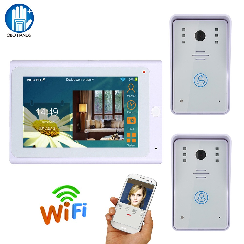 Wired Wifi IP Video Door Phone Doorbell Intercom System One 7 Indoor Monitor with 2 IR Camera Support IOS/Android Smart Phone 2016 new wifi doorbell video door phone support 3g 4g ios android for ipad smart phone tablet control wireless door intercom