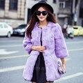 8 colour Women Real Rabbit Fur coat Genuine Natural fur jacket long  full pelt rabbit fur  feminino overcoat winter outerwear