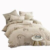 Brief Dinosaur Printed Bedding Set Jurassic Century Duvet Cover Bedspread Pillowcase 100 Cotton Bed Linen Queen
