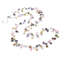 30inch Natural Freshwater Pearl Sweater Chain Necklace Baroque Teardrop Real Pearl Beads Multi Colored 3 Strands