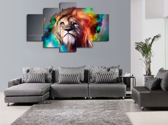 5 Piece Canvas Art New Wall Art Colour Lion Animalcanvas Paintings Decorations For Home Wall Art