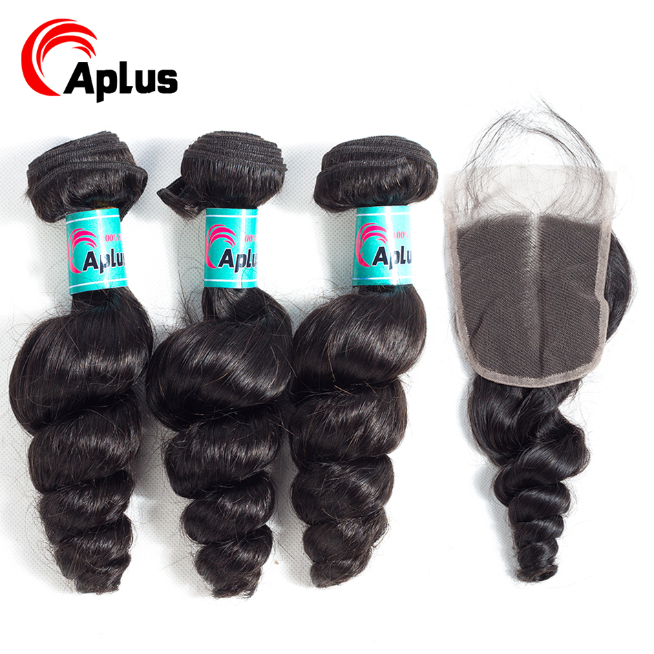 Brazilian Hair Bundles With Closure Loose Wave 3 Bundles With Lace Closure Remy Hair Bleach Knots Pre Plucked 150% Density