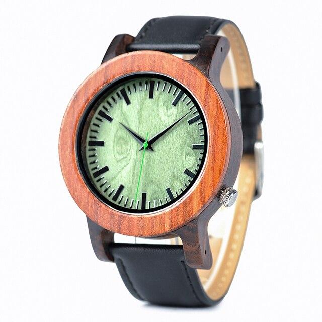 BOBO pájaro reloj de madera hombre reloj caja de madera de sándalo con correa de cuero reloj Masculino J-I03