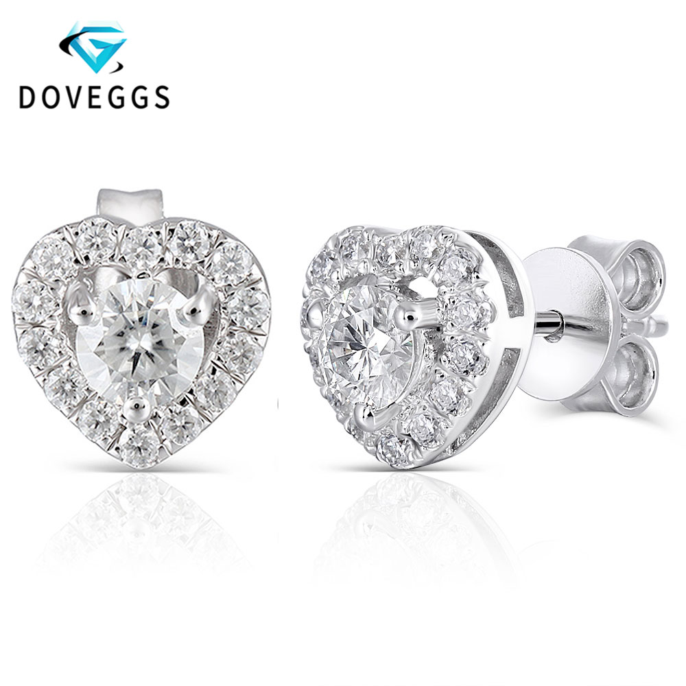 DovEggs Heart Shaped Platinum Plated Silver Stud Earring for Women 0 78CTW Center 4mm H Color