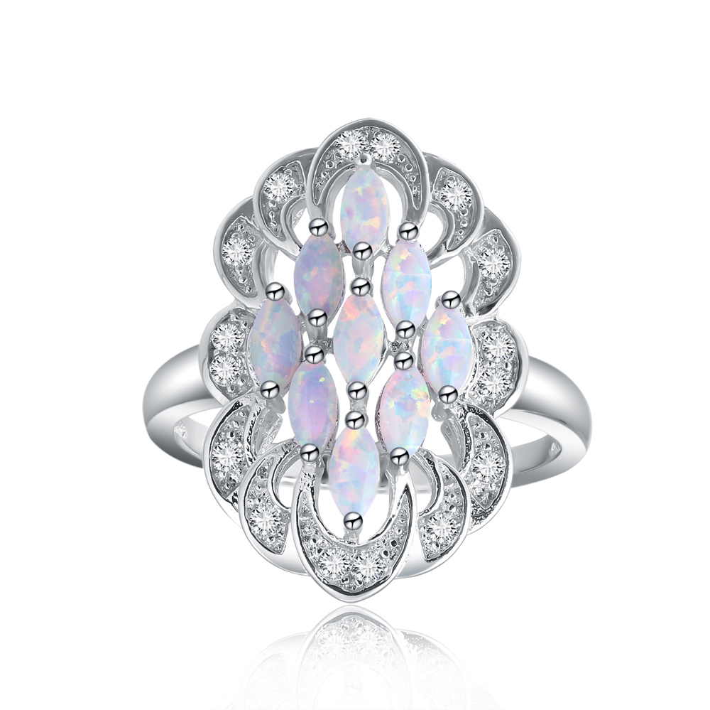 Luxury big Silver oval white fire opal stone ring crystal for Women Party Jewelry Lady Charm Finger Rings drop shipping