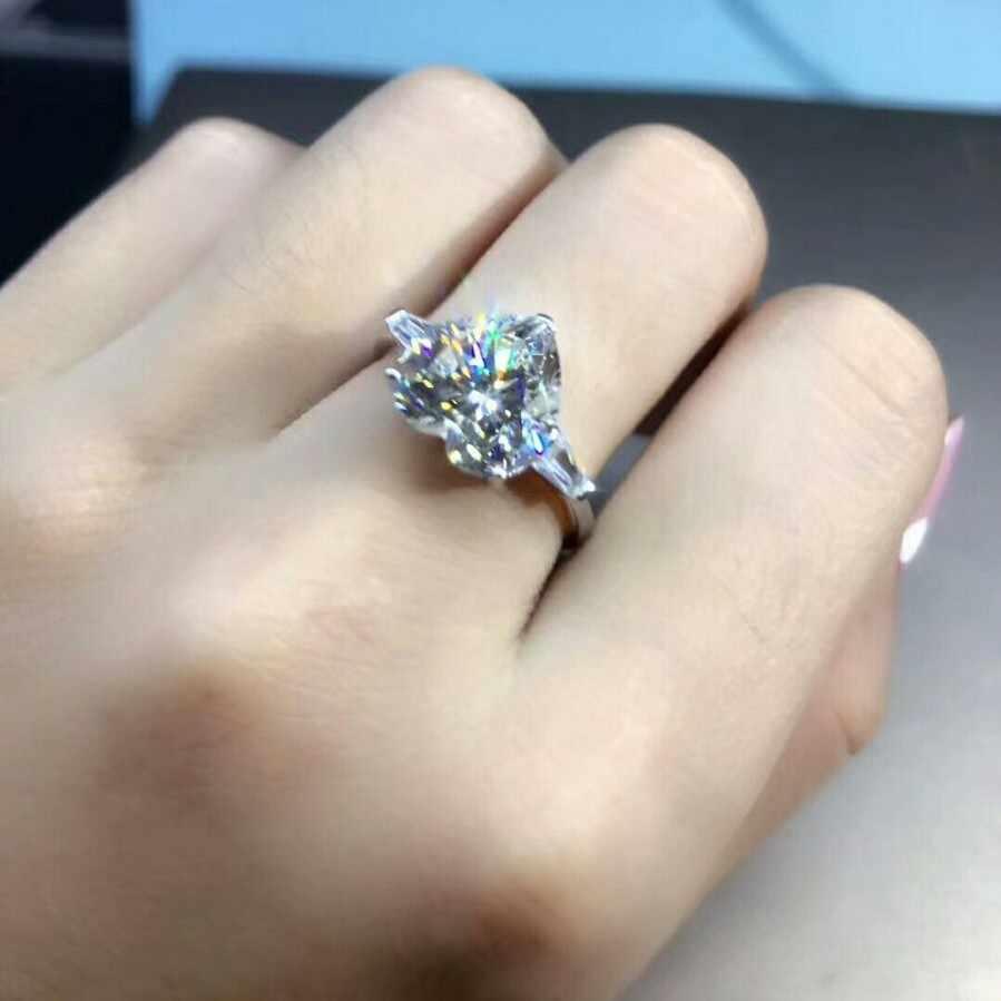 2018 ручной работы в форме сердца влюбленных Кольцо 3ct фианит AAAAA 925 серебро обручальное кольцо для женщин ювелирные изделия