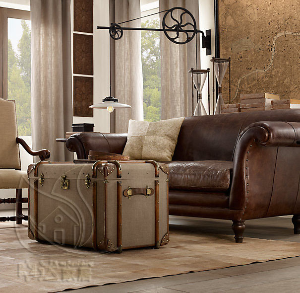 French American Country Retro Leather Sofas Imported Oil