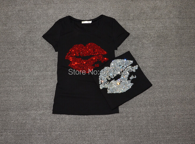 S M L XL Gray,Lips Print,Lot of Rhinestones,Stretchy Tank Top