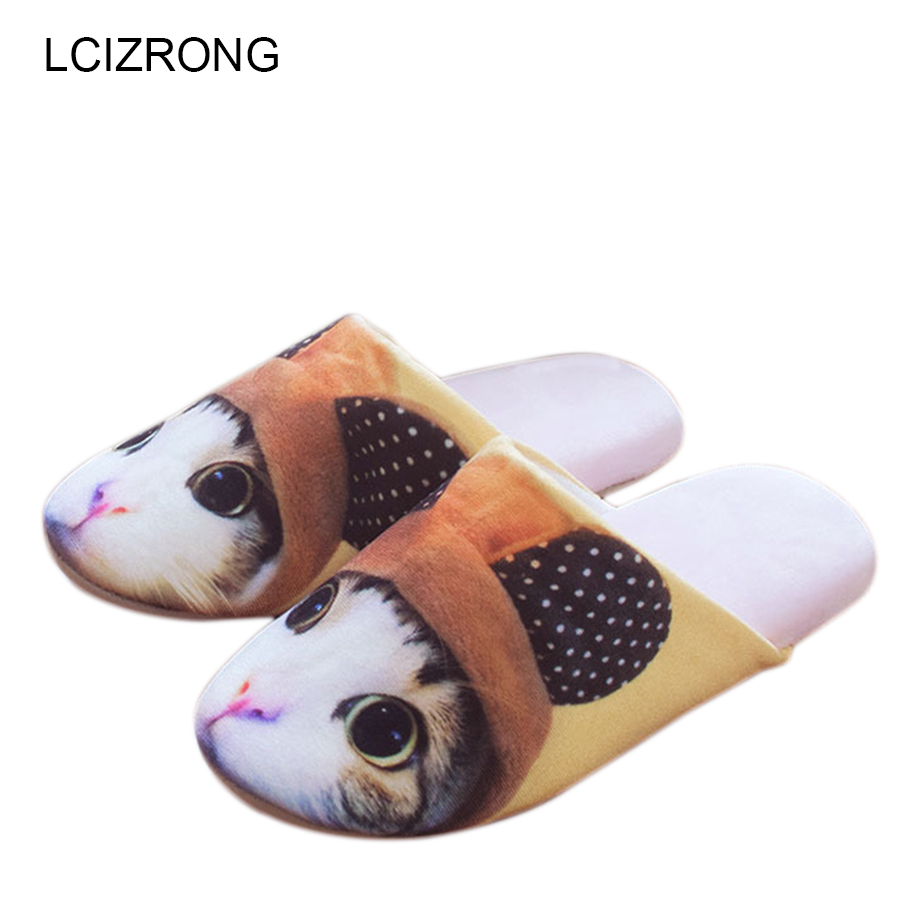 LCIZRONG 3D Cartoon Slippers Women Cute Animals Cat Dog Fluffy Home Slippers Lady Casual Slippers Flip Flop Zapatos Mujer Shoes women slippers ladies shoes slip on slider fluffy faux fur flat fashion female leopard slipper flip flop sandal zapatos mujer