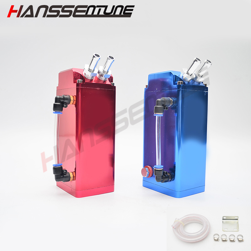 Universal Square Aluminum Oil Catch Tank Reservoir Turbo Oil Catch Can With Hose For All Cars