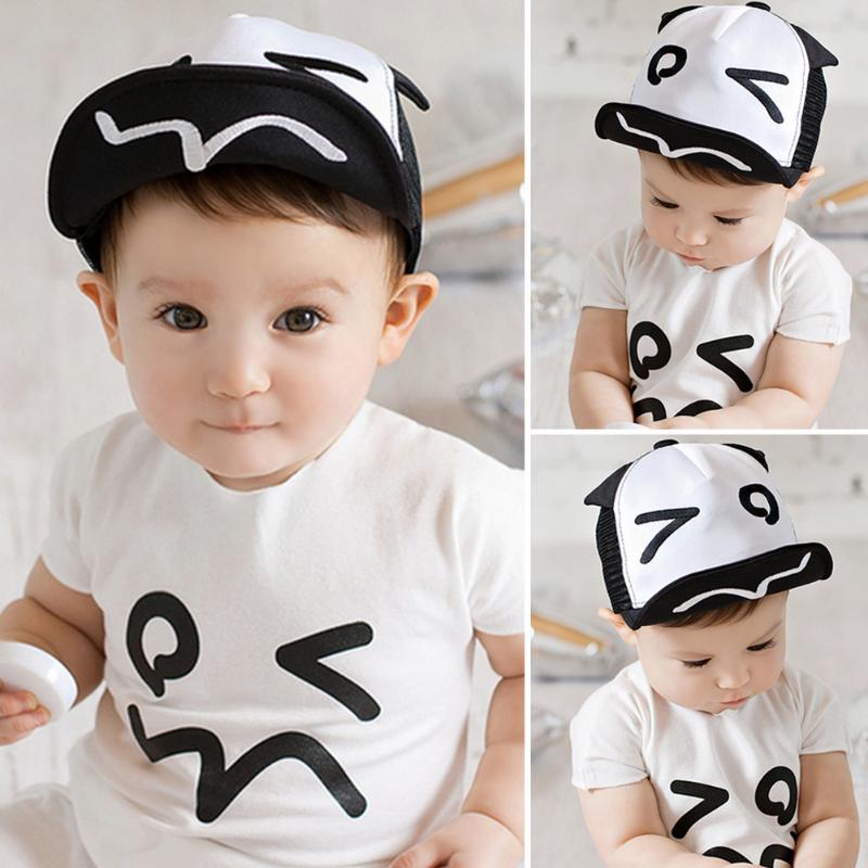 Summer Kids Hats For Chidren Infant Baby Caps Beret Cute Cartoon Baby Boy Baseball Hat Black White Hats For Boy