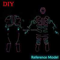 2016 New Fashion EL SuitsLED EL Clothes Luminous Costumes Glowing Gloves Shoes Light Clothing Men
