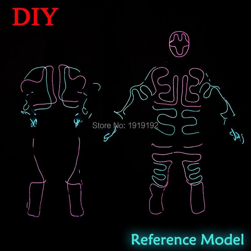 2017 New Fashion EL SuitsLED/EL Clothes Luminous Costumes Glowing Gloves Shoes Light Clothing Men EL Masks Clothe Dance