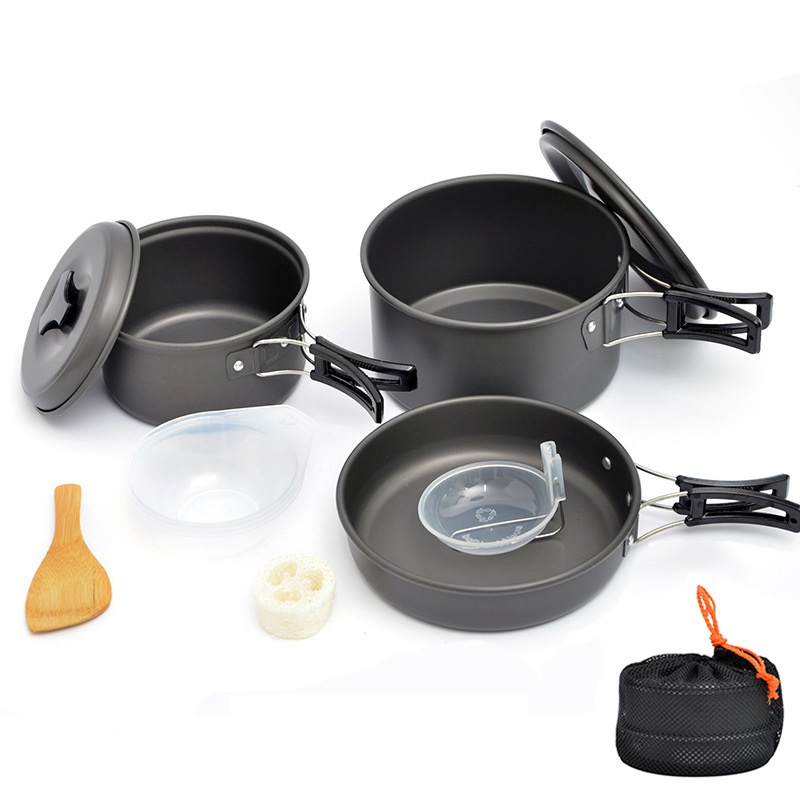 2 3 People Portable Pot Tableware Set Outdoor Folding Picnic Cookware Equipment Camping Hiking Picnic Cooker Set