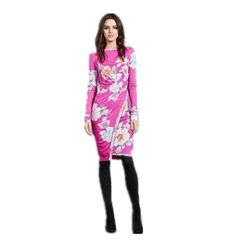 Europe America Autumn fashion Women's Korean version of the Slim College high-end printed stretch knit slimming dress Z-1-308 image