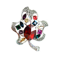 Colorful Crystal Rhinestone Brooch For Women 2015 BIg Size Silver Plated Leaf Lapel Pin Brooches Hollow Out High Quality Brooch