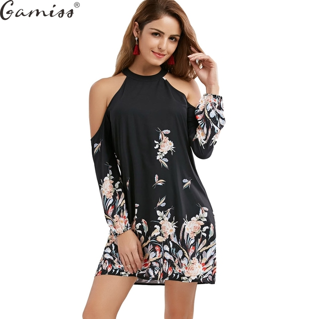 cf9b4f166cc Gamiss Cold Shoulder Long Sleeve Floral Border Print Shift Dress Autumn  Ladies Casual Elegant A Line