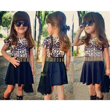 Girl Dress With Belt Two Pcs Set/2019 New Arrival Baby Girls Fashion Leopard Dresses Short Sleeve