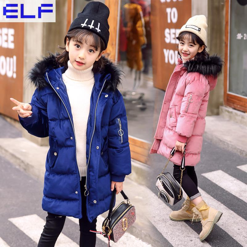 2018 New Winter Girls Kids Boys Warm Thicker Imitation Fur Collar Long Coat Down Cotton Jacket Outer Clothing Hooded new women winter down cotton lengthened coat plus size 5xl fashion hooded fur collar thicker warm mother slim jacket okxgnz a923